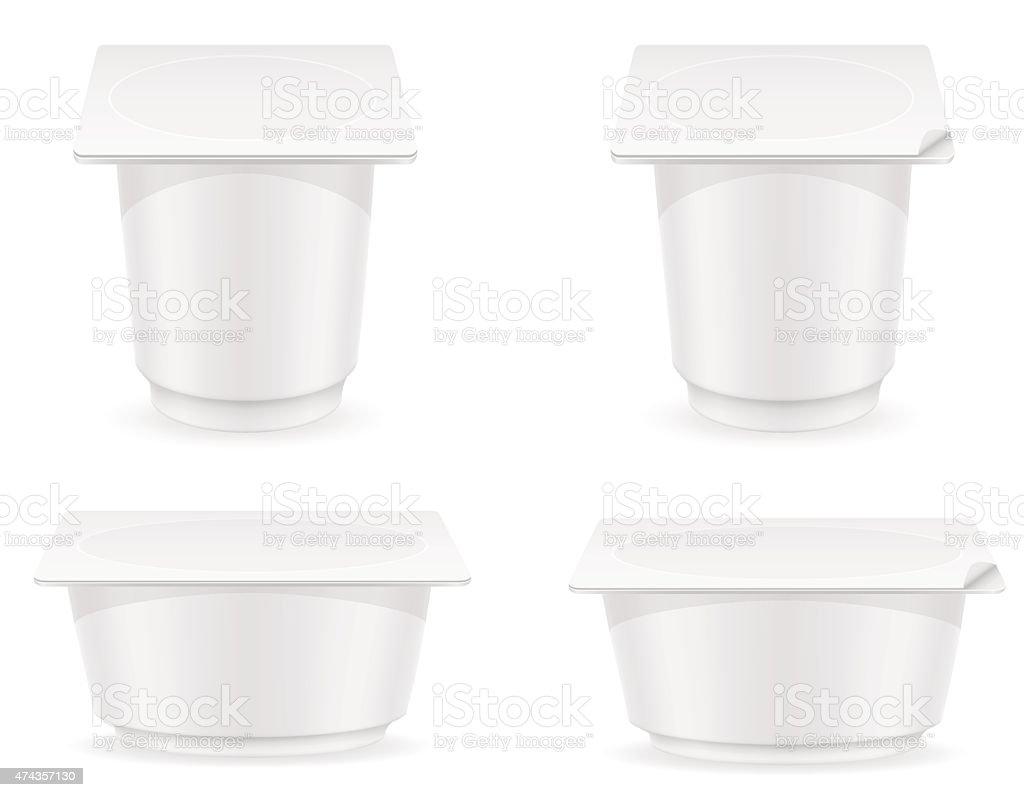 white plastic container of yogurt vector illustration vector art illustration
