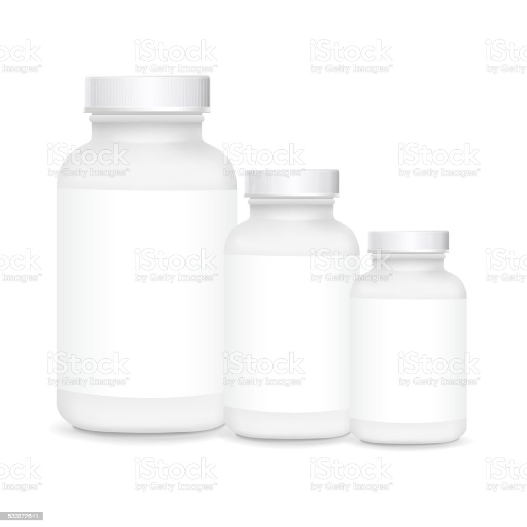 white plastic medical containers vector art illustration