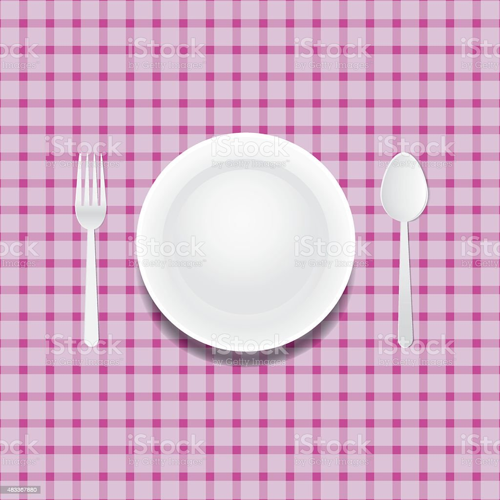 white plate on a checkered tablecloth vector art illustration
