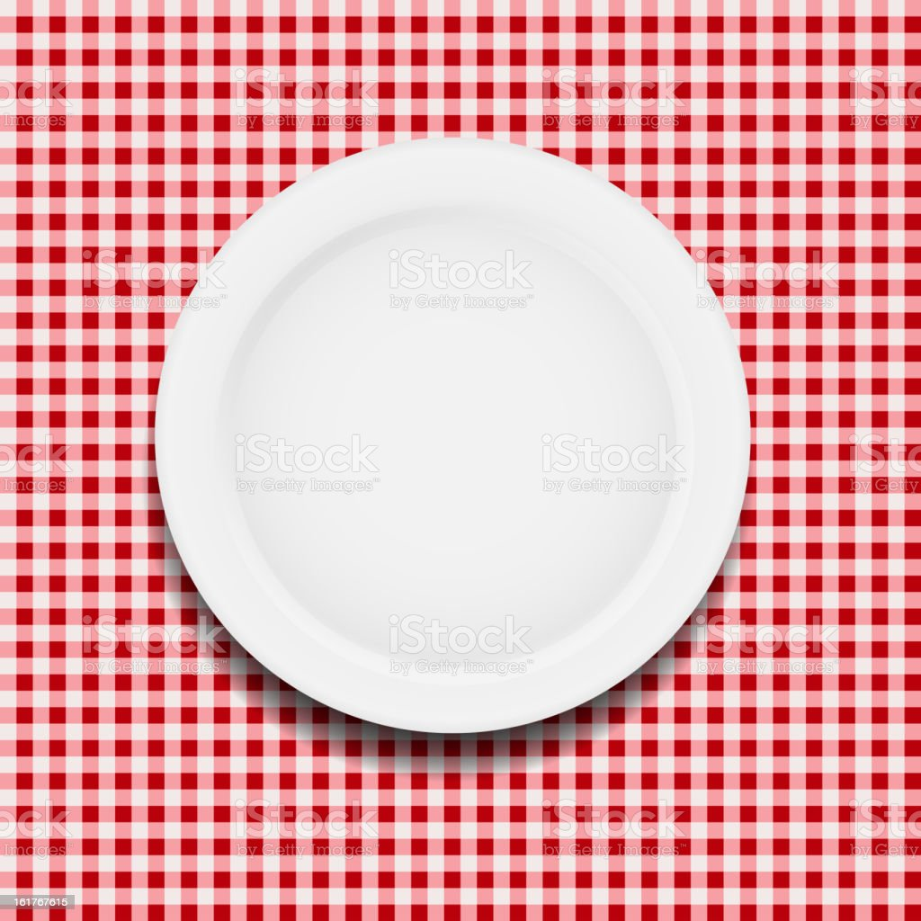 white plate on a checkered tablecloth vector illustration vector art illustration
