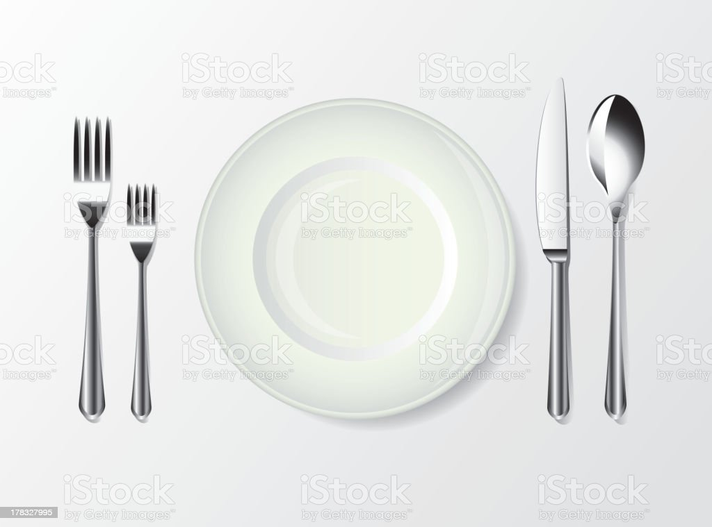 white plate, spoon, fork and knife royalty-free stock vector art