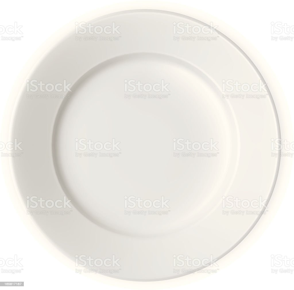 White plate with nothing on it vector art illustration
