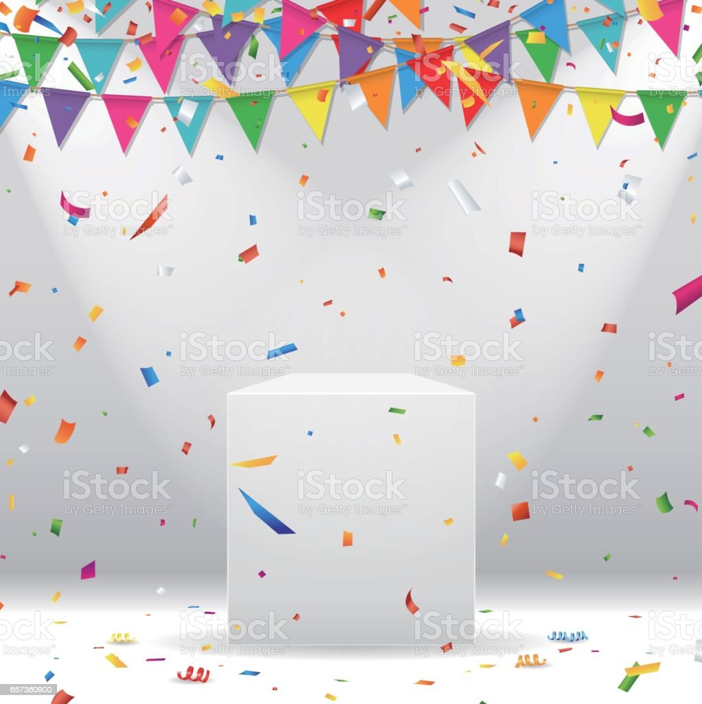 White podium with party flag and colorful confetti vector art illustration