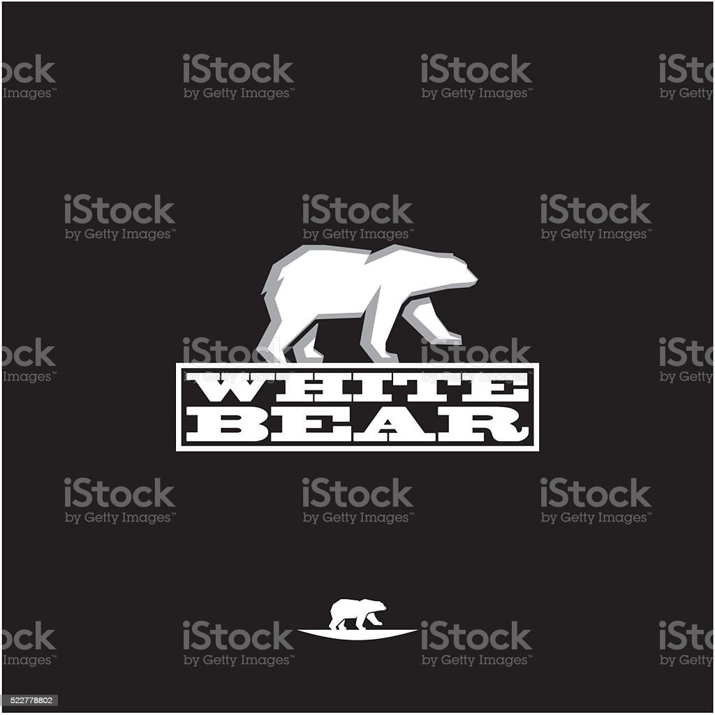 white polar bear vector art illustration