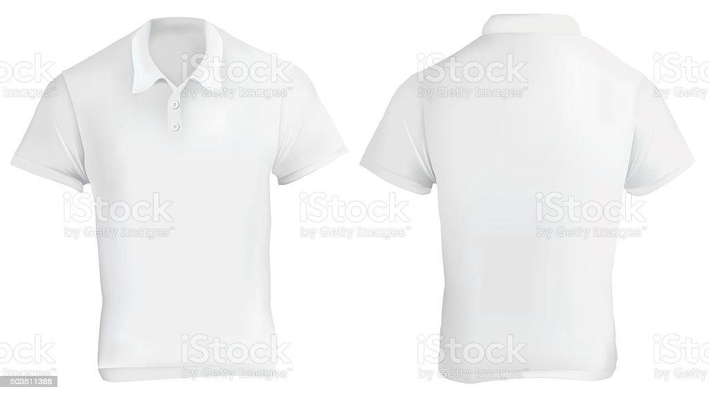 White Polo Shirt Template vector art illustration
