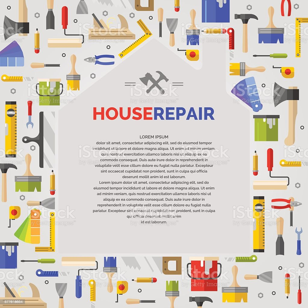 White poster with home and tools for house repair vector art illustration