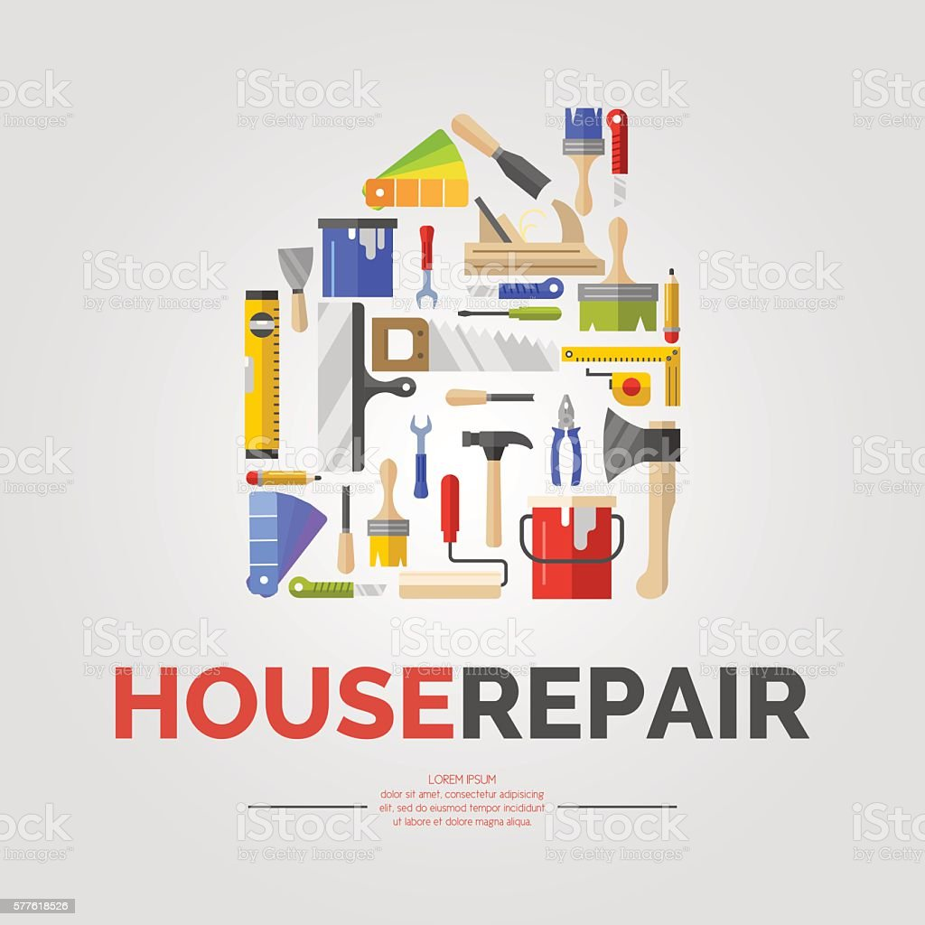 White poster with home of tools for house repair vector art illustration
