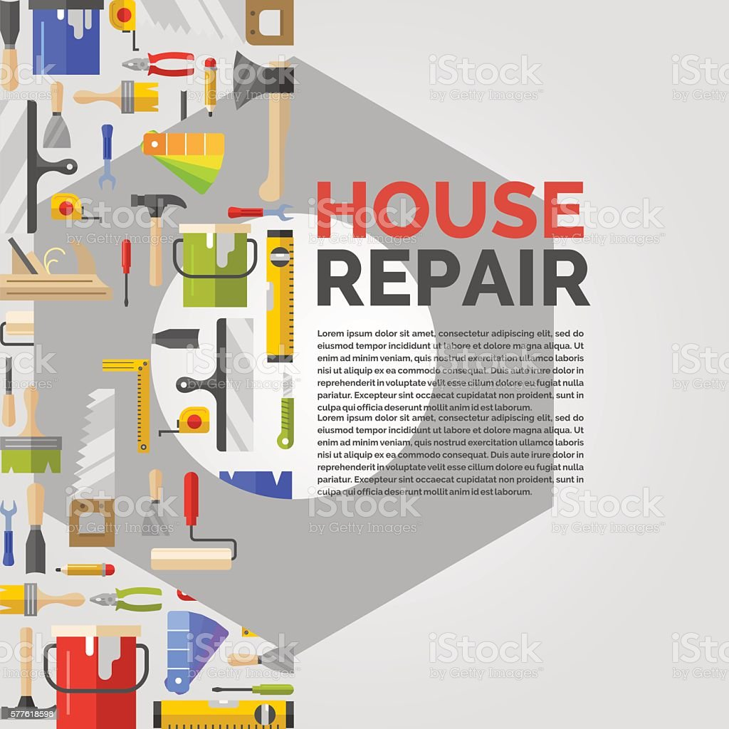 White poster with nut and tools for house repair vector art illustration