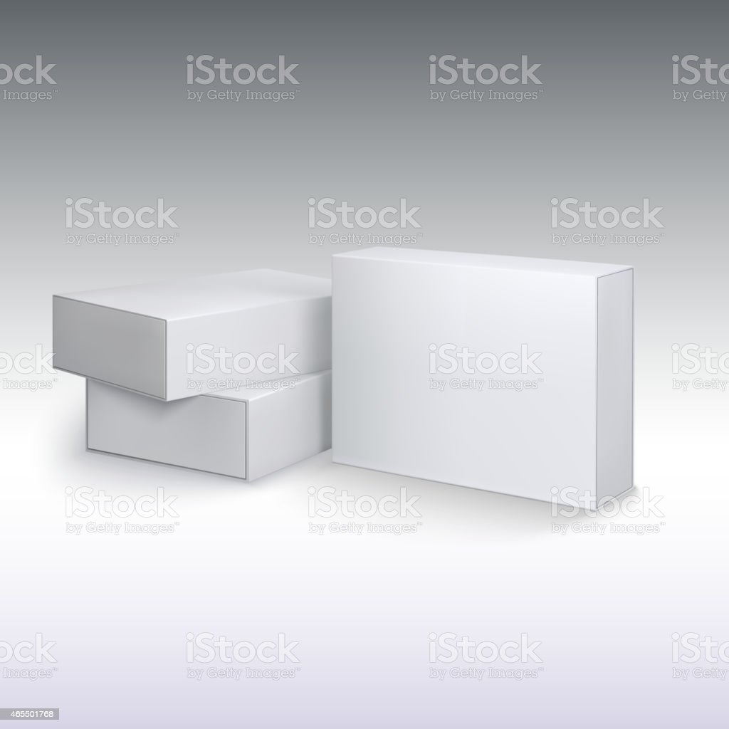 White product cardboards, package boxes mockup. vector art illustration