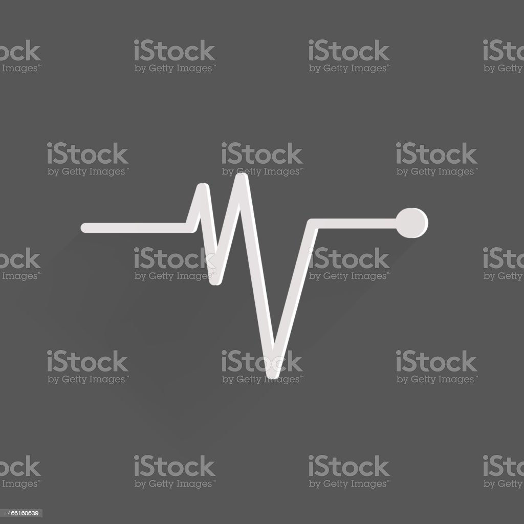White pulse icon depicting heart beat vector art illustration