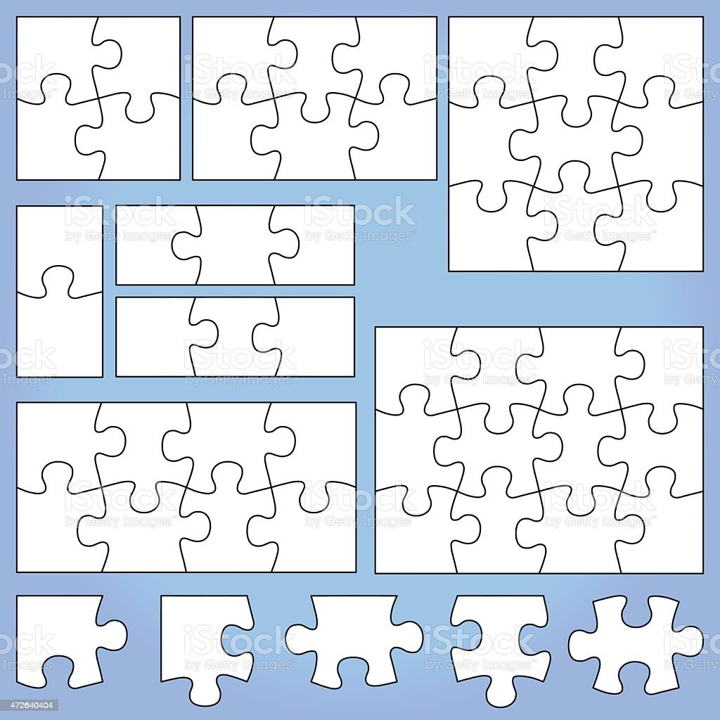 White puzzle set on blue background vector art illustration