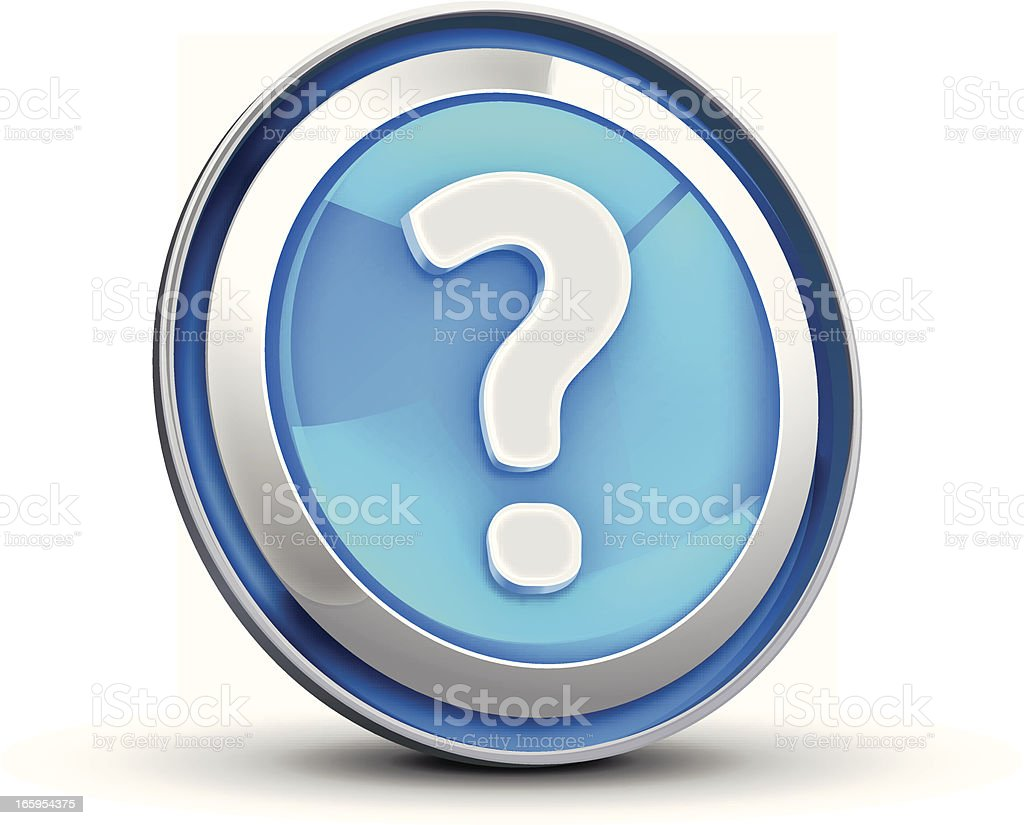 A white question mark in a blue circle  royalty-free stock vector art