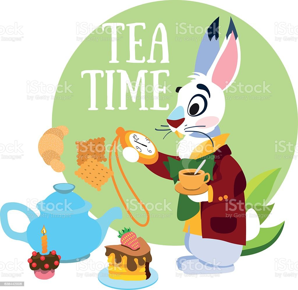 White Rabbit hurrying to the mad tea party. vector art illustration