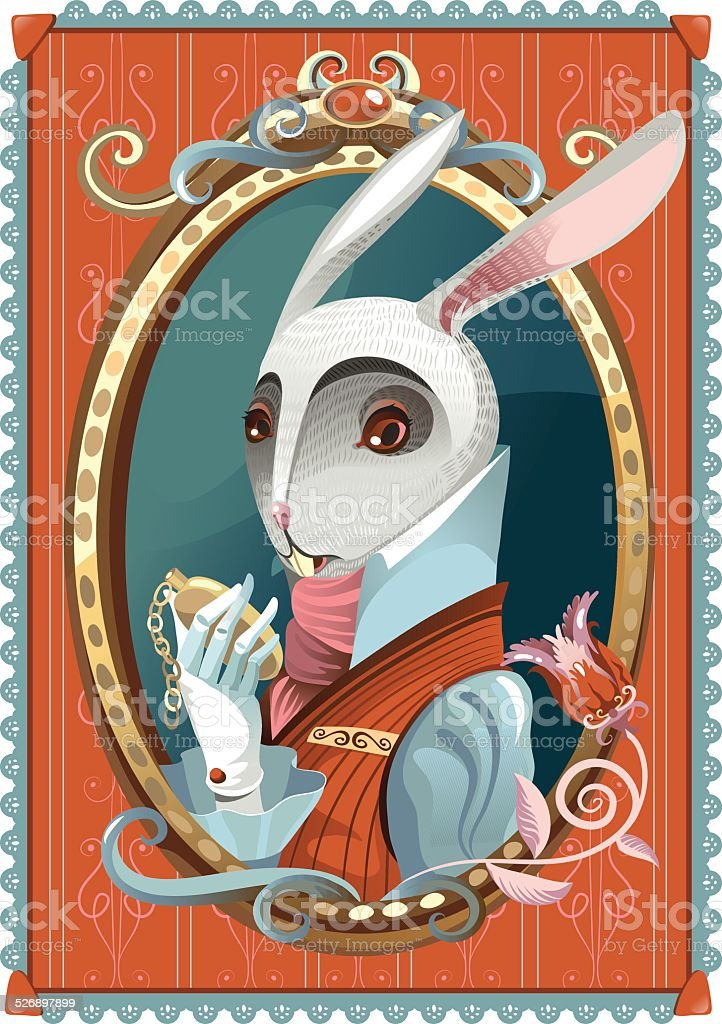 White Rabbit vector art illustration
