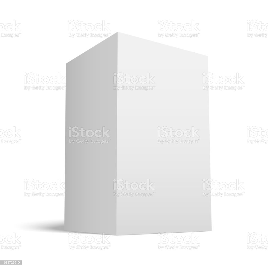 White realistic Box with grey Shades vector art illustration