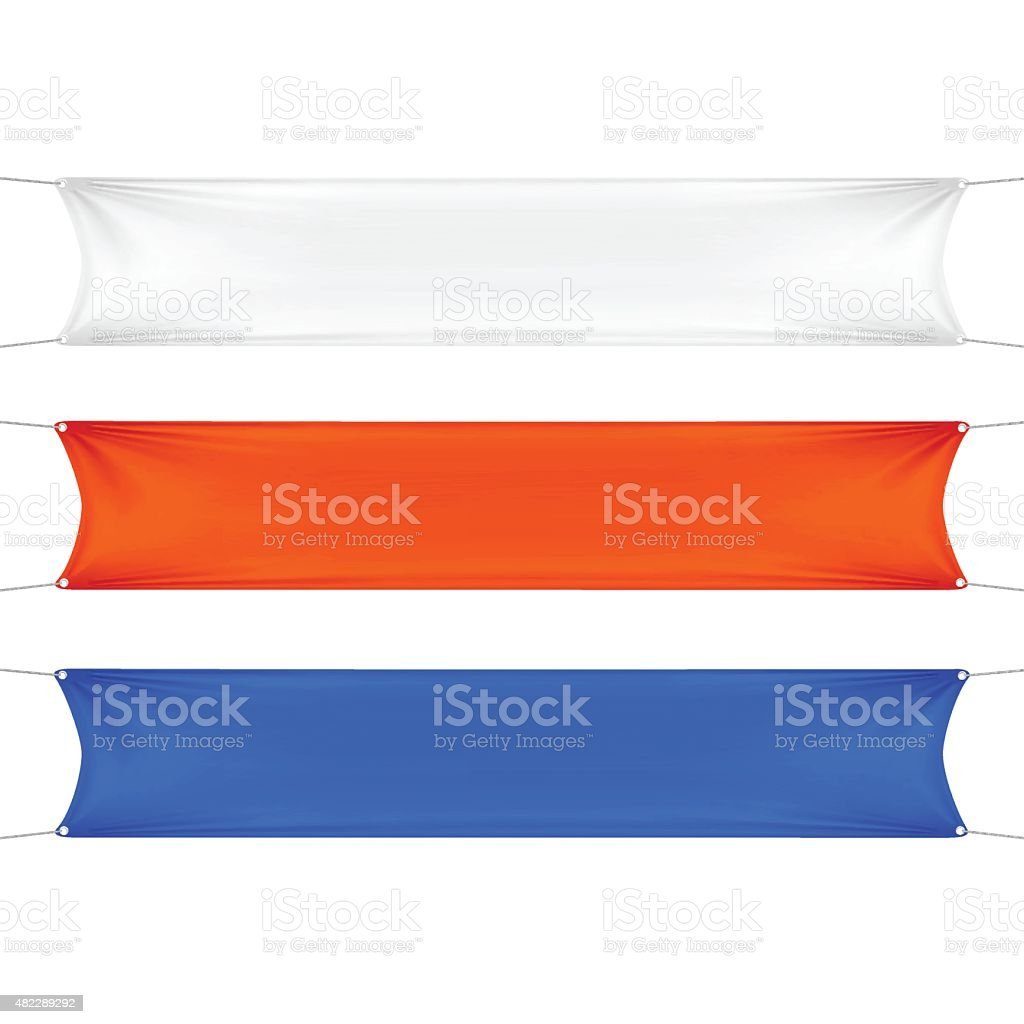 White, Red and Blue  Rectangular Banners with Corners Ropes vector art illustration