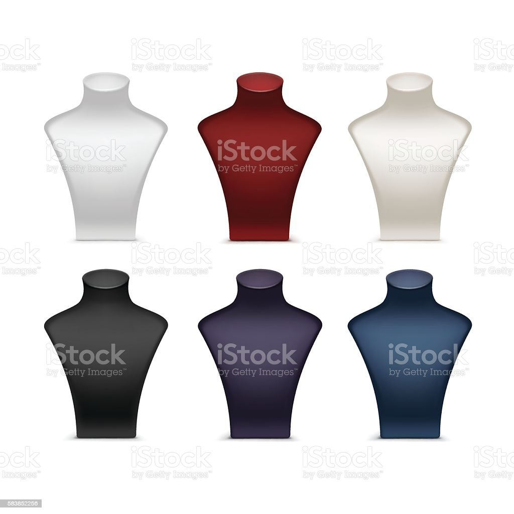 White Red Black Blue Purple Necklace Mannequin Stand for Jewelry vector art illustration