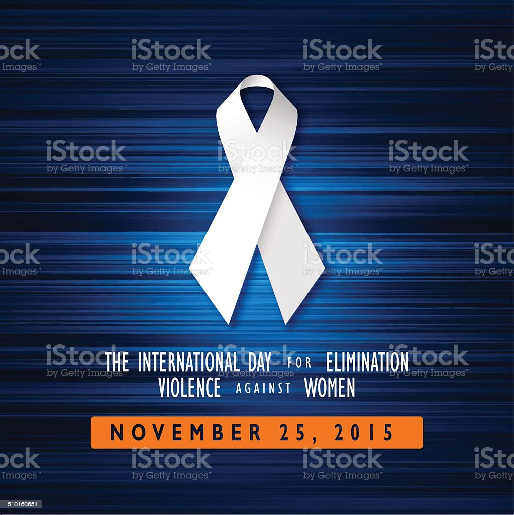 White Ribbon Eliminate Violence Against Women Blue Graphic Vector Illustration vector art illustration