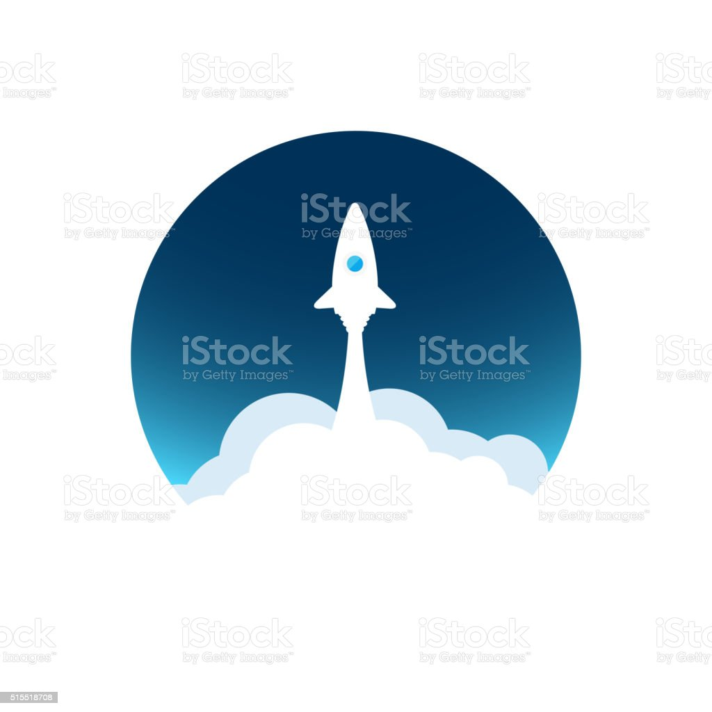 White rocket with cloud and blue sky, flat vector illustration vector art illustration