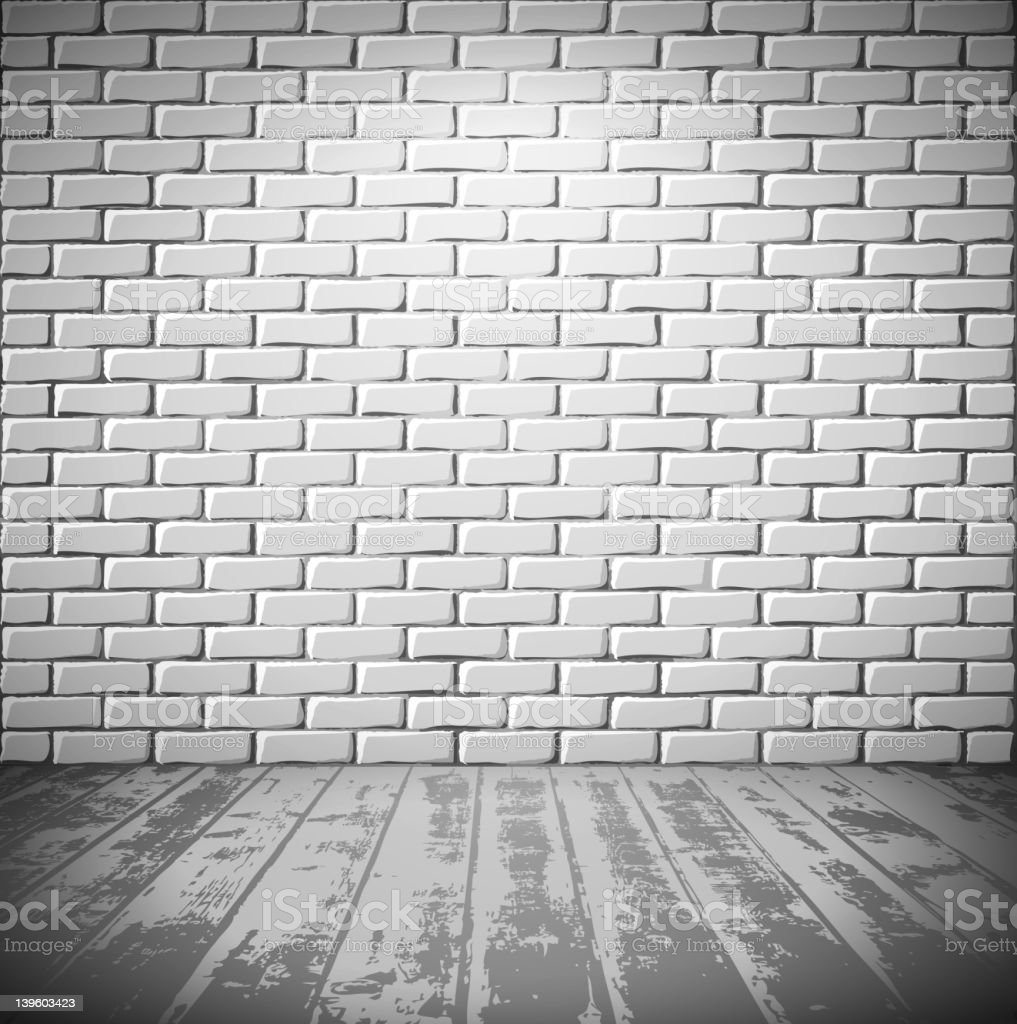 White room with brick wall and wooden floor royalty-free stock vector art
