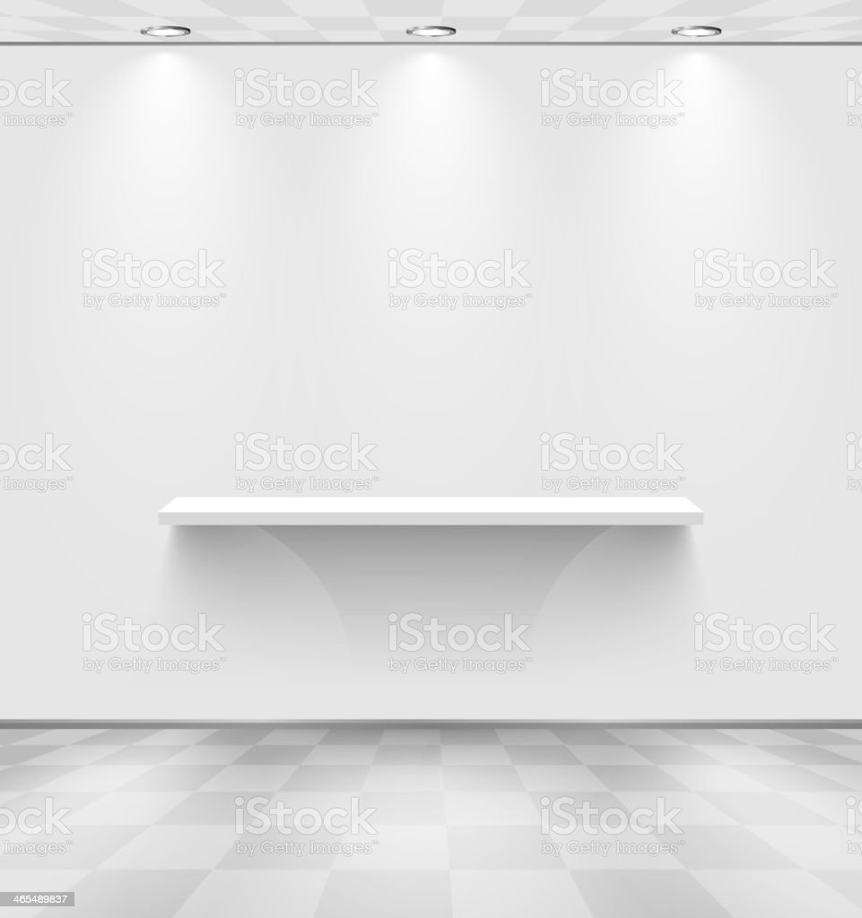 White room with shelf vector art illustration