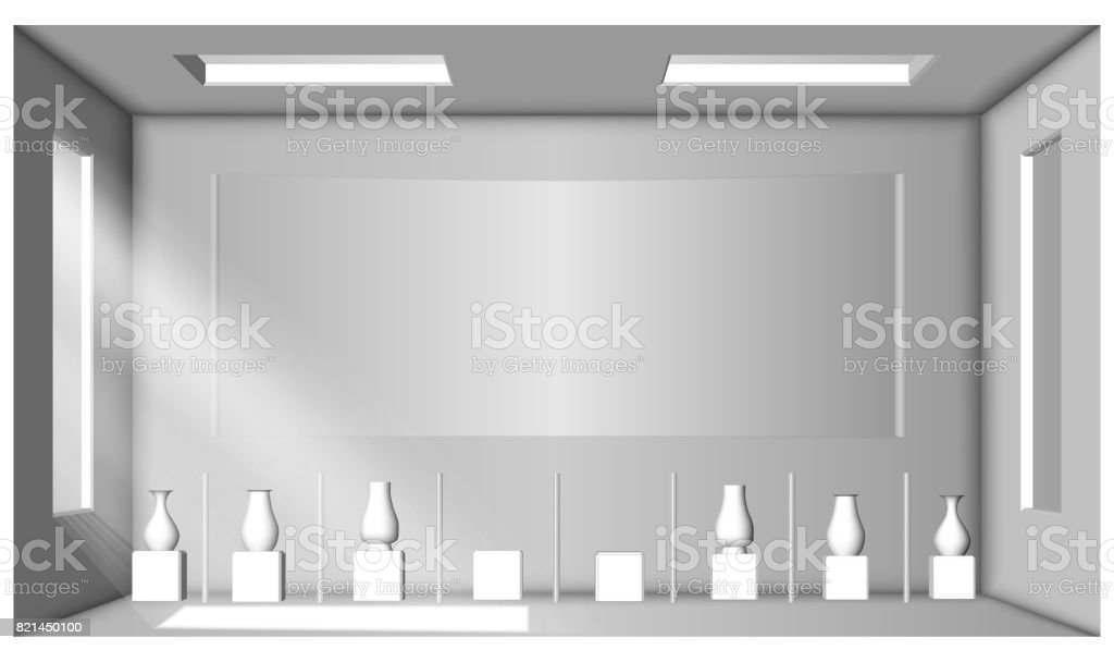 White room with two windows and a collection of vases. Showroom. Surrounding occlusion vector art illustration