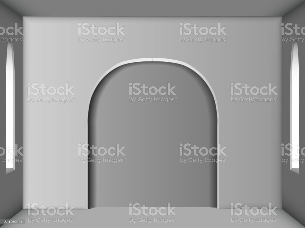 White room with two windows and an arch in the center. Ambient Occlusion vector art illustration