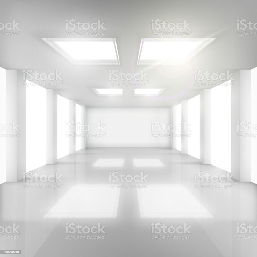 White Room with Windows in Walls and Ceiling. vector art illustration