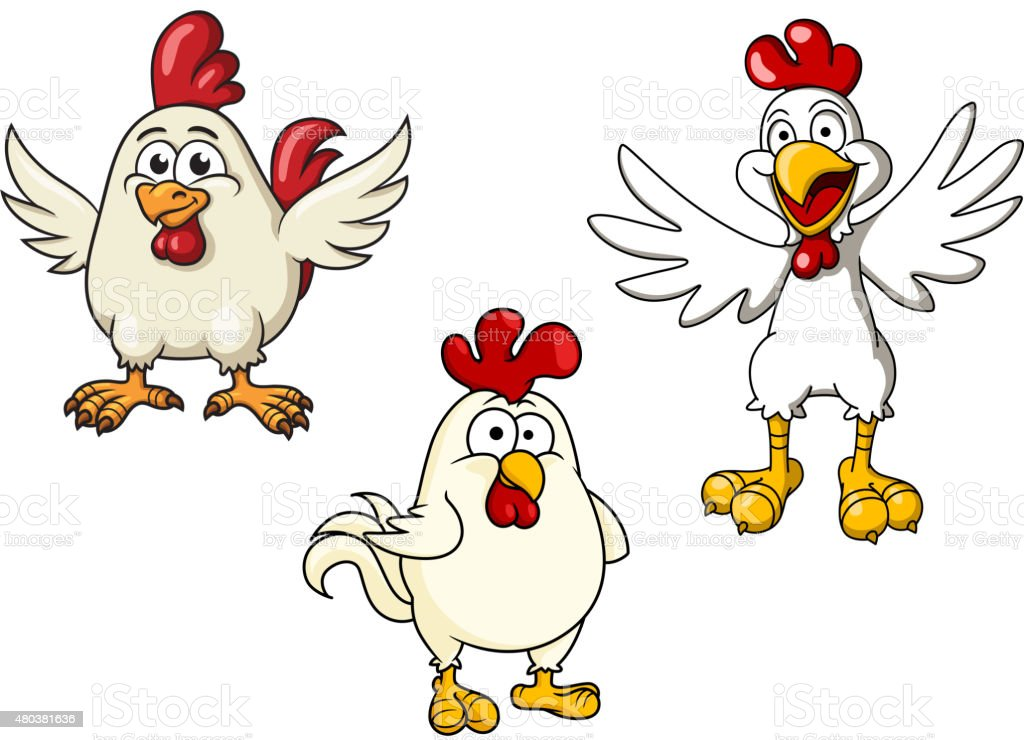 White roosters and cocks cartoon characters vector art illustration