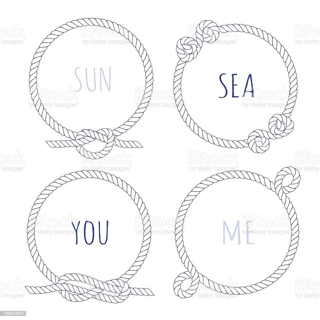 White rope round vector design frame set vector art illustration