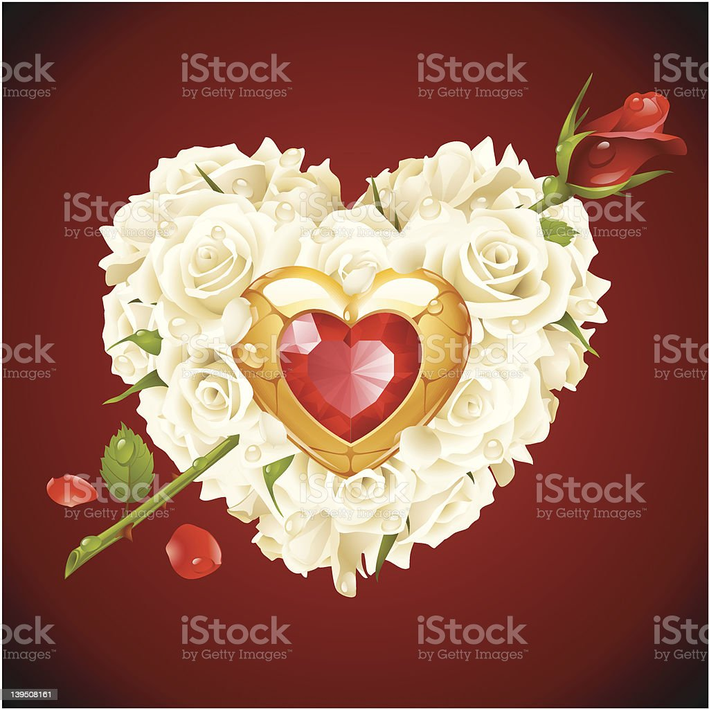 White Roses in the shape of heart royalty-free stock vector art