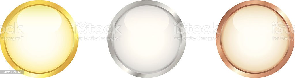 White round buttons with golden, silver and bronze border. vector art illustration