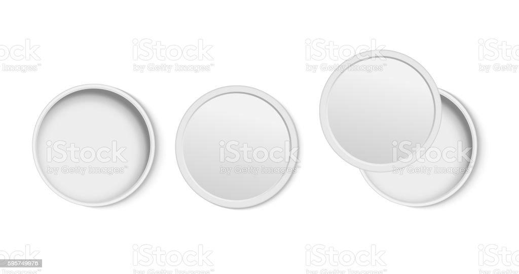 White round open empty box top view. vector art illustration