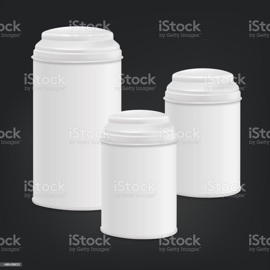 white round tin packaging set vector art illustration