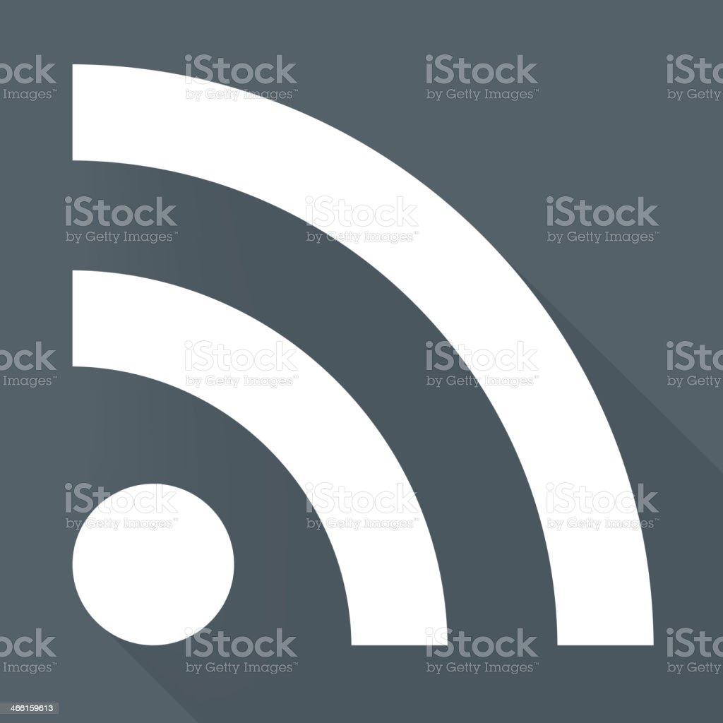 White RSS news icon against gray background vector art illustration