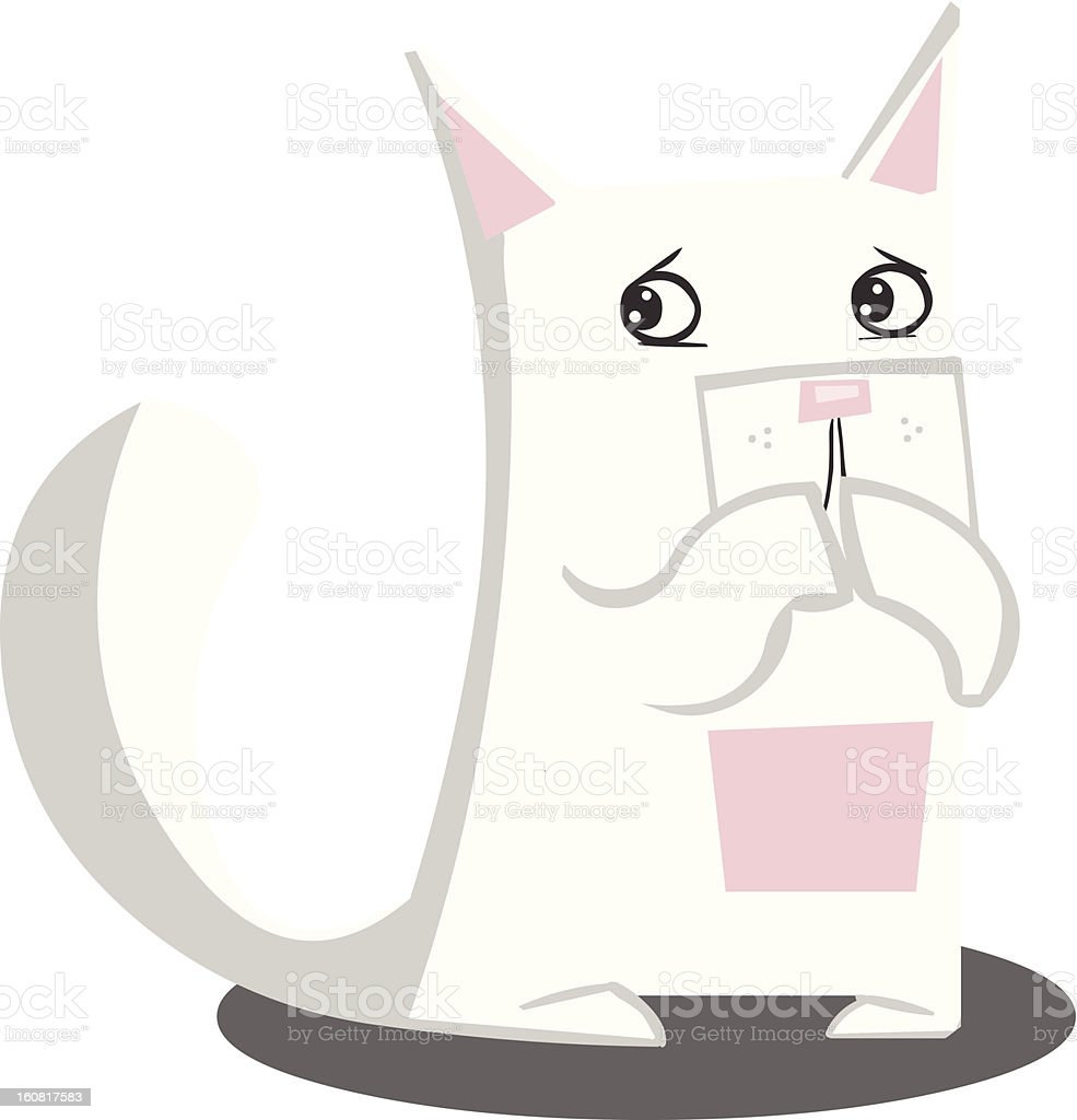 White Scared Cat royalty-free stock vector art