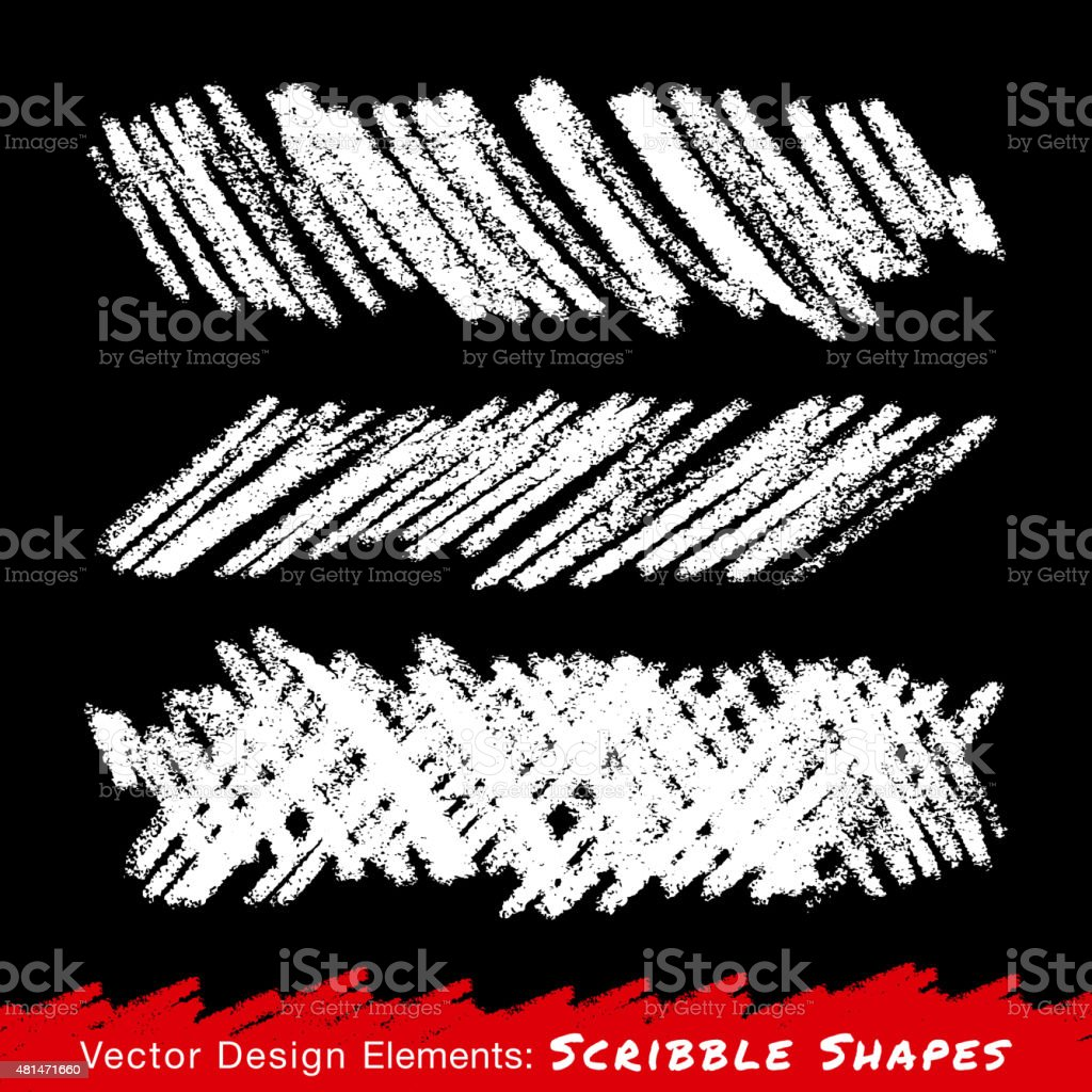 White Scribble Smears Hand Drawn in Pencil vector art illustration