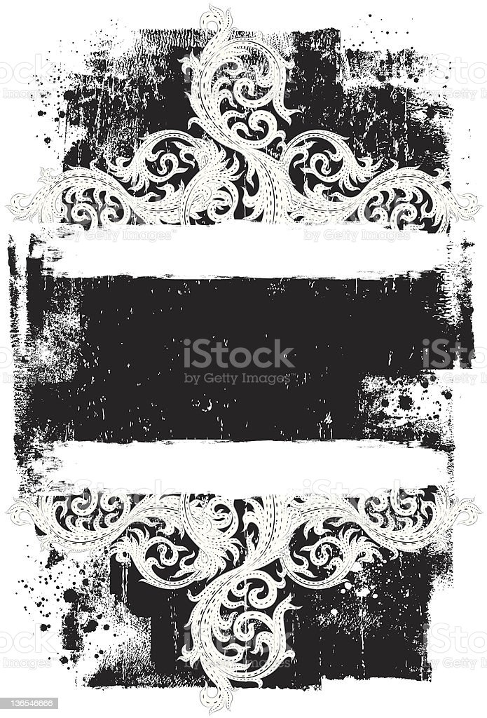 white scroll weathered frame royalty-free stock vector art