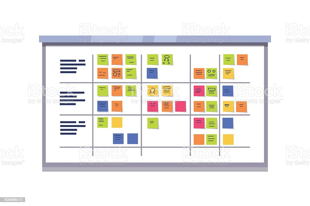 White scrum board full of tasks on sticky cards vector art illustration