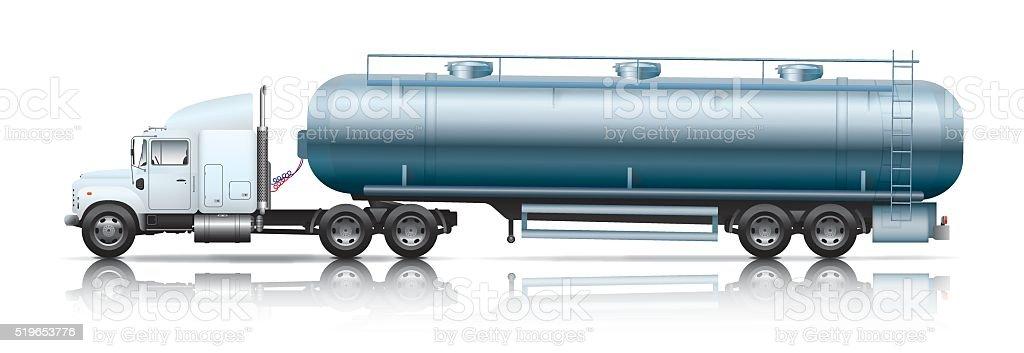 white semi-truck with tanker vector art illustration