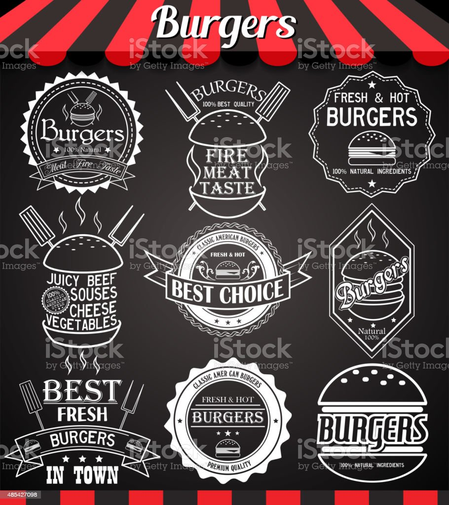 White set burger icons, labels, symbols and badges on blackboard vector art illustration