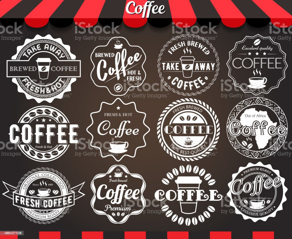 White set of round vintage retro coffee labels and badges vector art illustration