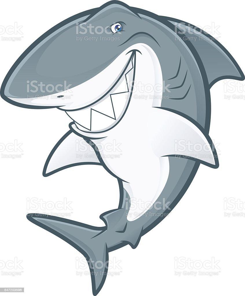 White shark mascot vector art illustration