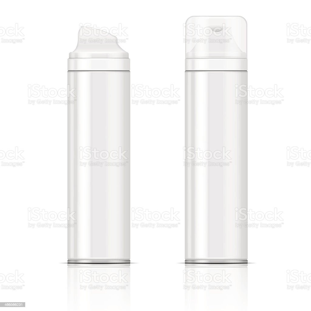 White shaving foam bottles vector art illustration