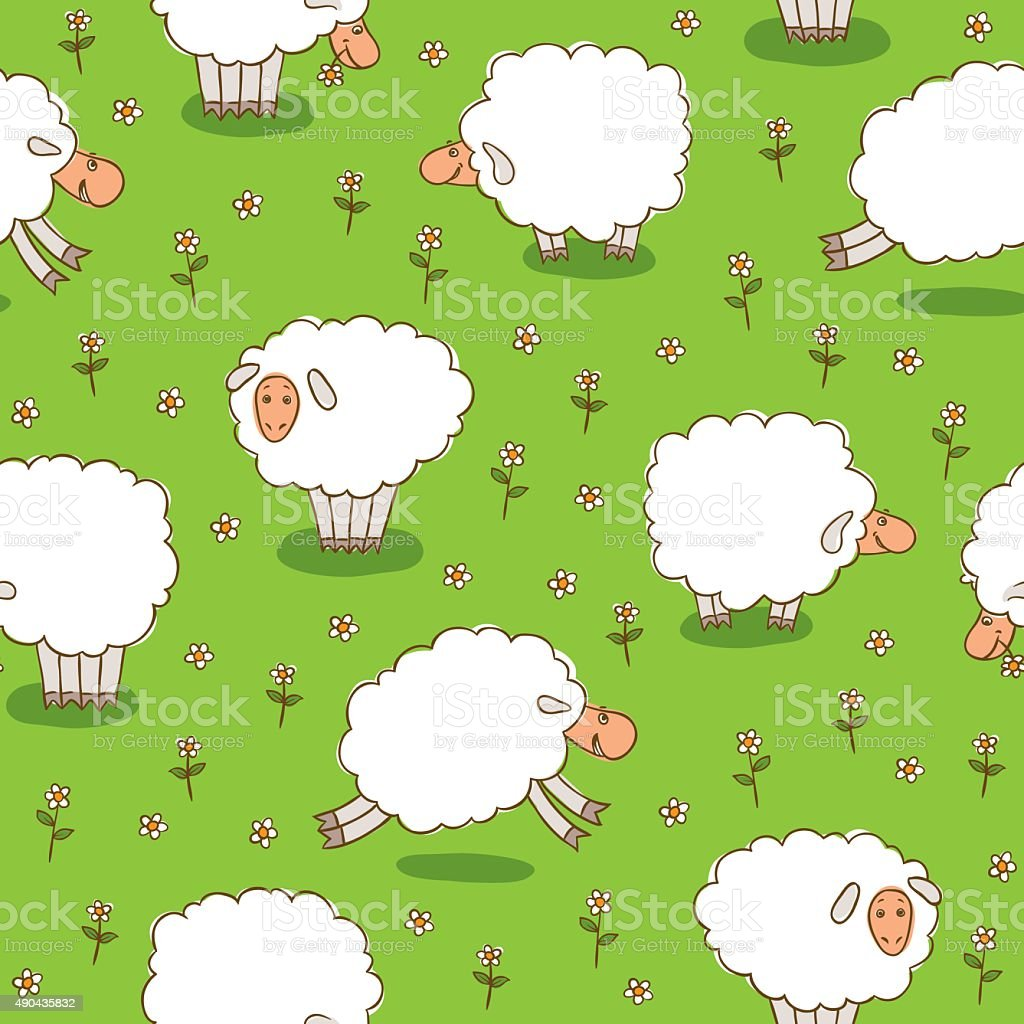 White Sheep Grazing On a Green Meadow vector art illustration