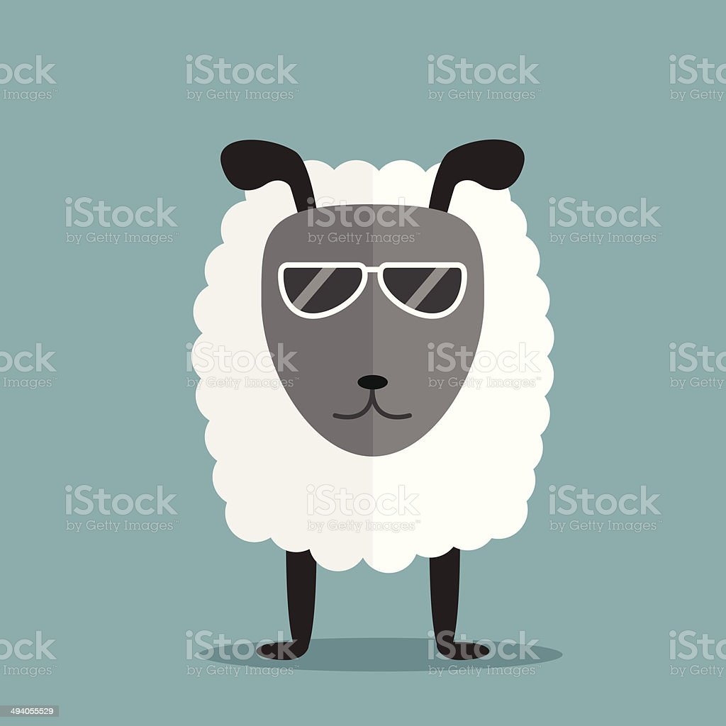 white sheep with glasses vector art illustration