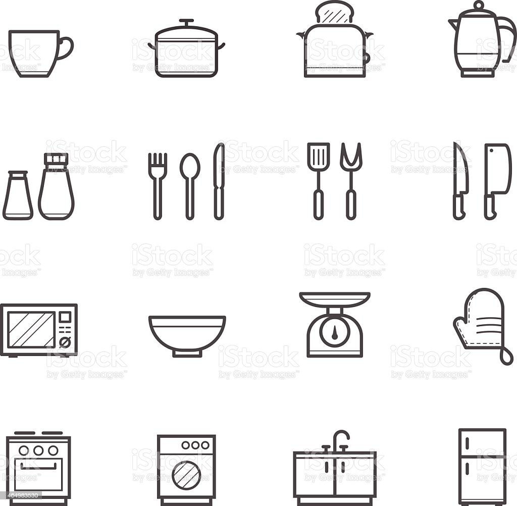 White sheet of various kitchen icons vector art illustration