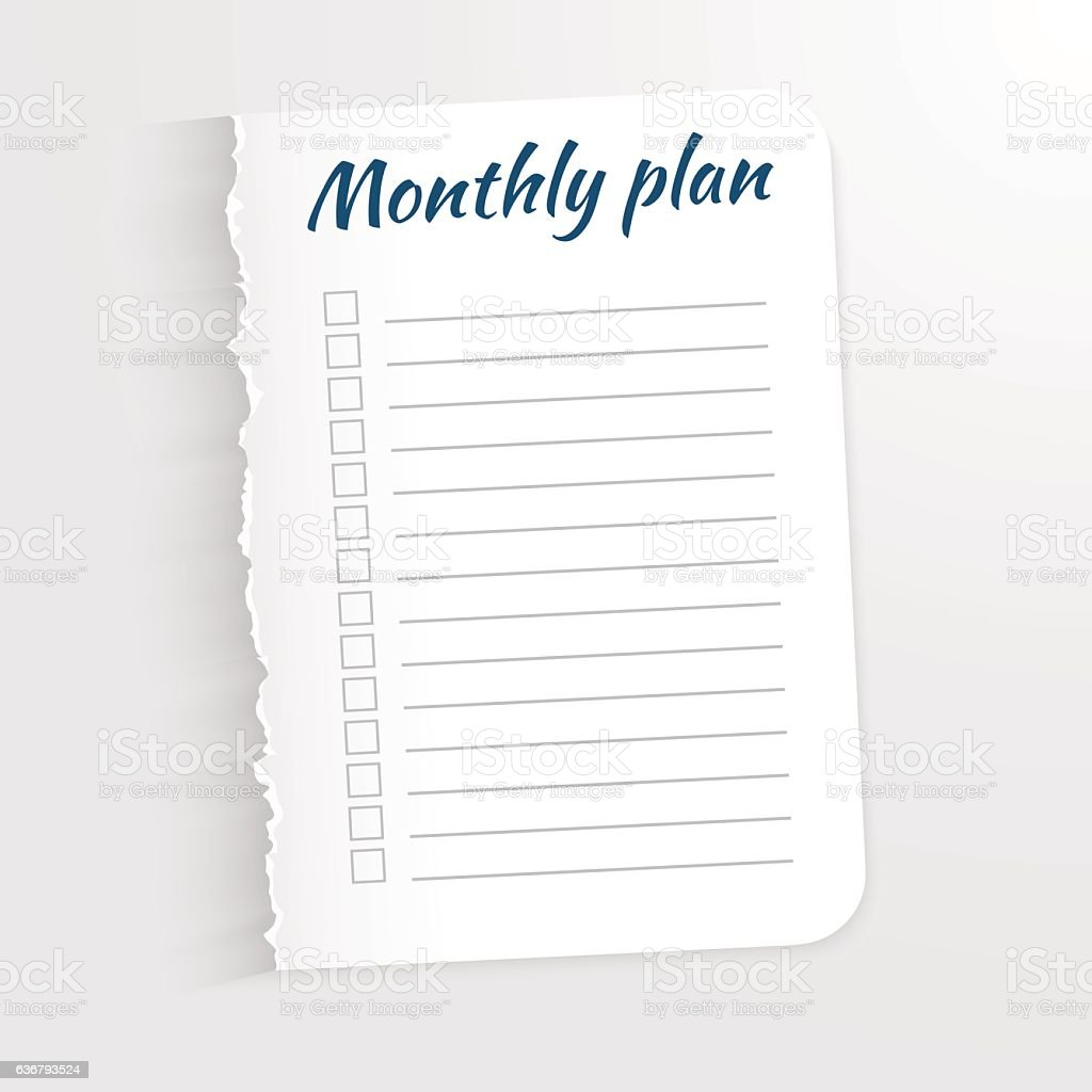 White sheet with inscription Monthly Plan. vector art illustration