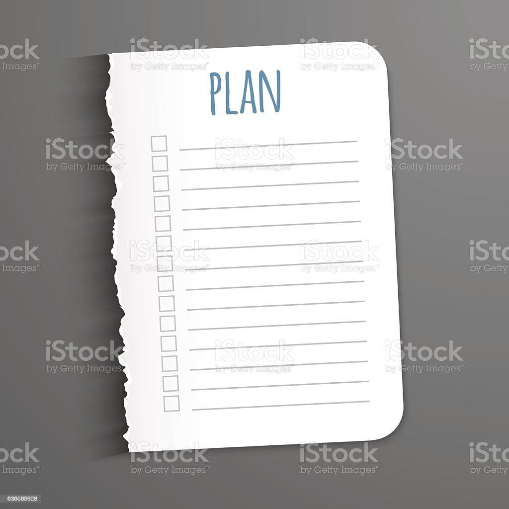 White sheet with inscription plan. vector art illustration
