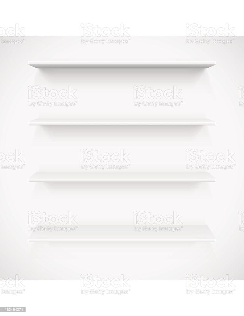 White Shelves vector art illustration